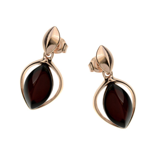 Earrings with Cherry Color Baltic Amber in Rose Gold Plated Sterling Silver