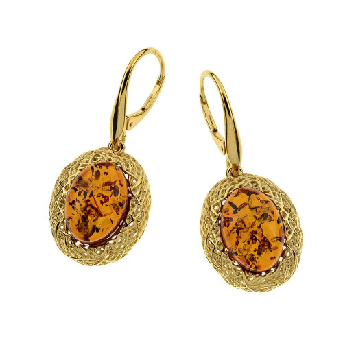 Cognac Color Baltic Amber Earrings in Yellow Goldplated Sterling Silver