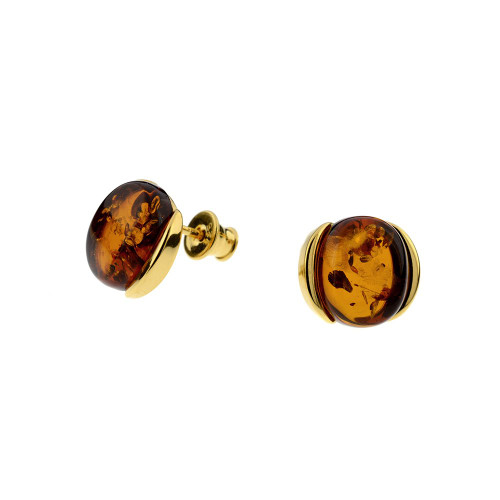 Stud Earrings with Cognac Color Baltic Amber in Gold-plated Sterling Silver