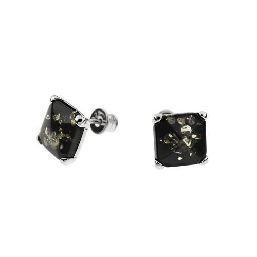 Green Color Baltic Amber Square Post Earrings in Sterling Silver