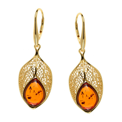 Cognac Color Baltic Amber Earrings in Yellow Gold-plated Sterling Silver 3767
