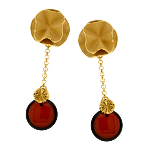 Cherry Color Baltic Amber Earrings in Rose Gold-plated Sterling Silver 3776