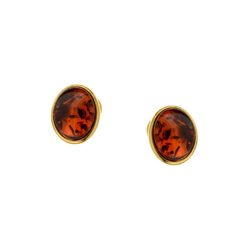 Stud Earrings with Cognac Color Baltic Amber in Gold-plated Sterling Silver 3796