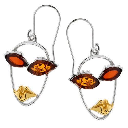 Picasso  Style Collection Multi Color Baltic Amber  Earrings in mix Sterling Silver & Yellow Gold-plated