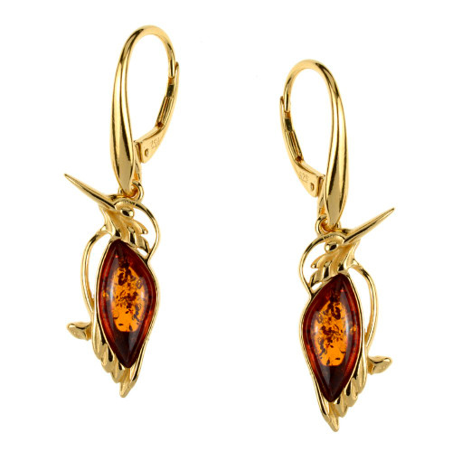 Cognac Color Baltic Amber Bird Earrings in Yellow Gold-plated Sterling Silver