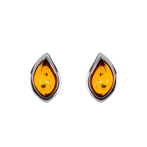 Earrings with Cognac Color Baltic Amber in  Sterling Silver 1366