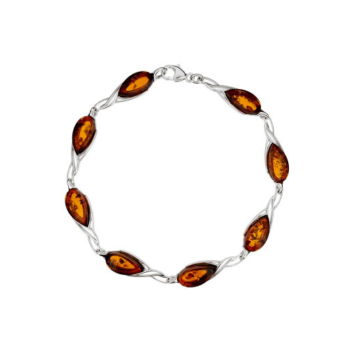 Bracelet in Sterling Silver with Cognac Color Baltic Amber W2997c