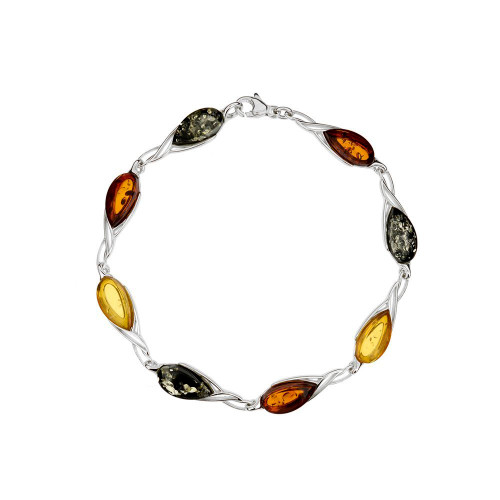 Bracelet in Sterling Silver with Multi-Color Baltic Amber W2997mt