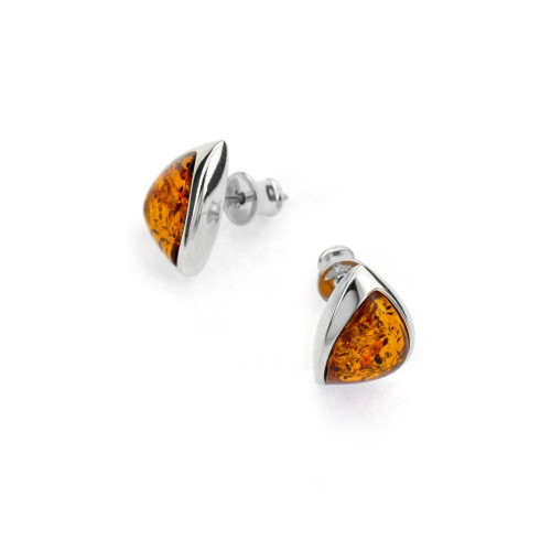Earrings with Cognac Color Baltic Amber in Sterling Silver 1777