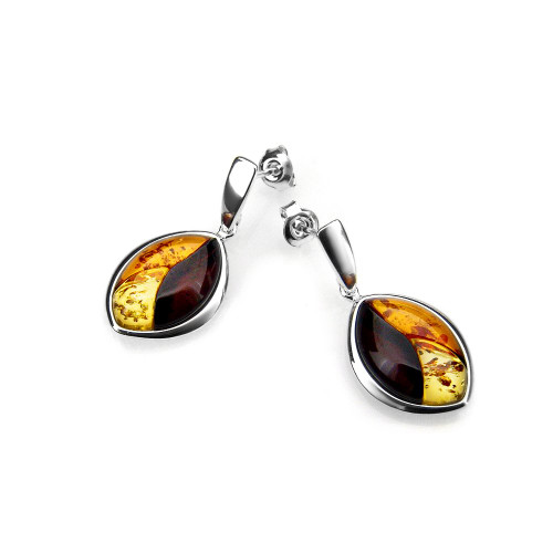 Multi-Color Baltic Amber Earrings in Sterling Silver E2079