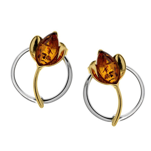 Earrings with Cognac Color Baltic Amber in Yellow Gold plated Sterling Silver