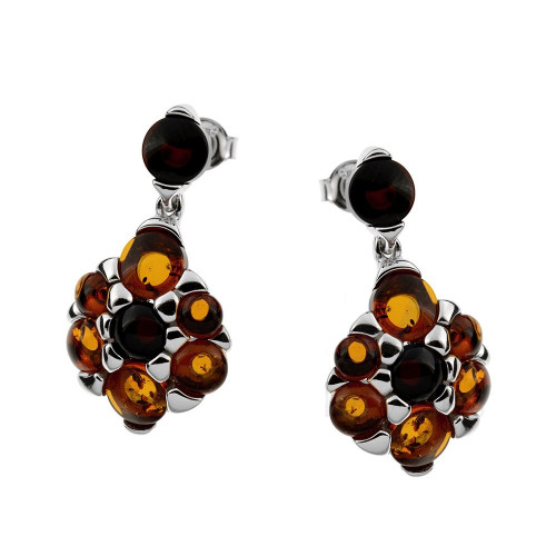 Multi-Color Baltic Amber Earrings in Sterling Silver 3347