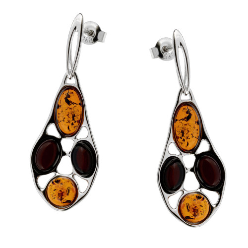 Multi-Color Baltic Amber Earrings in Sterling Silver 3373