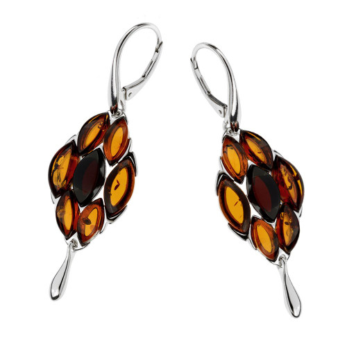 Multi-Color Baltic Amber Earrings in Sterling Silver 3349