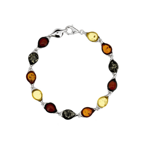 Bracelet in Sterling Silver with Multi Color Baltic Amber 3311-3