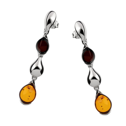 Multi-Color Baltic Amber Earrings in Sterling Silver 3311-1