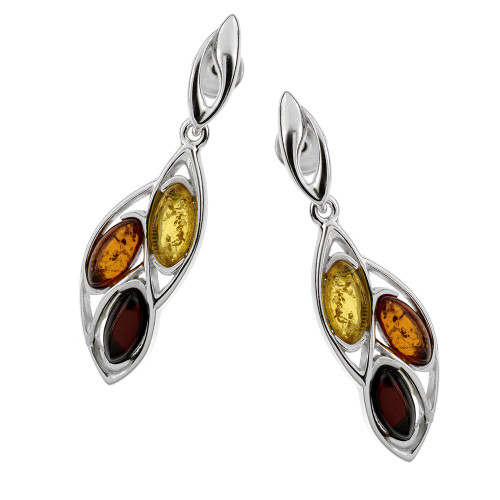 Multi-Color Baltic Amber Earrings in Sterling Silver 2561