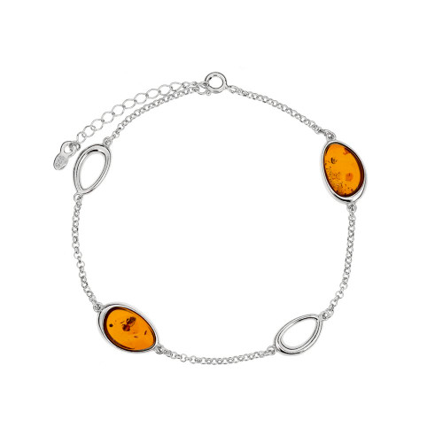 Bracelet in Sterling Silver with Cognac Color Baltic Amber 3696