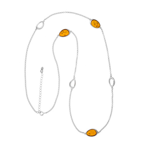Necklace with Cognac Color Baltic Amber stone in Sterling Silver 3696