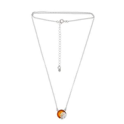 Necklace with Cognac Color Baltic Amber stone in Sterling Silver 3789