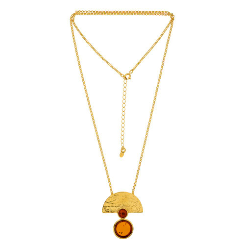 Art Deco Style Jewelry Collection Cognac Color Baltic Amber Necklace in Gold plated Sterling Silver