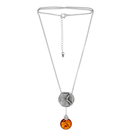 Necklace with Cognac Color Baltic Amber stone in Sterling Silver 3776