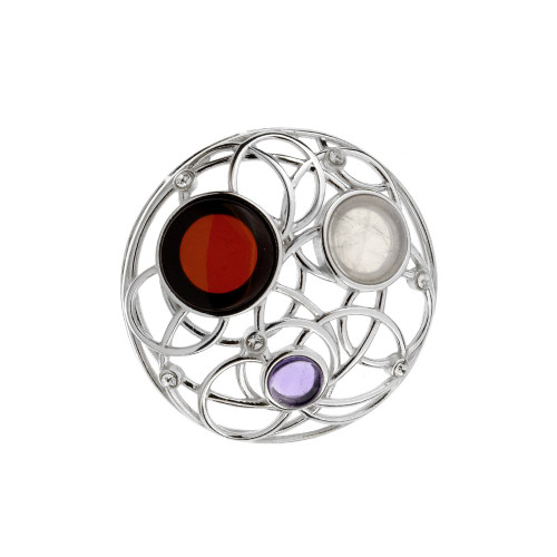 Round shape with Multi Color Baltic Amber & Amethyst in Sterling Silver