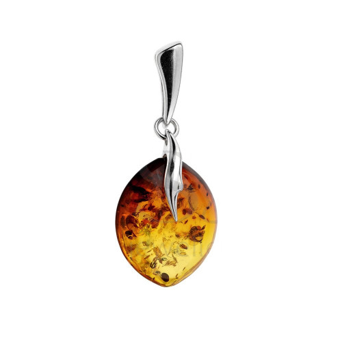 Pendant with Cognac  Color Baltic  Amber in Sterling Silver 0005