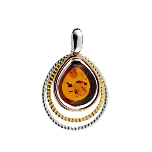 Cognac Color Baltic Amber Pendant in mix Sterling Silver & Yellow Gold-plated Sterling Silver 3267