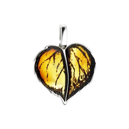 Carved leaves Collection Cognac Color Baltic Amber Pendant in Sterling Silver 2971
