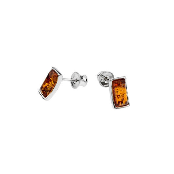 Cognac Color Baltic Amber Stud Earring in Sterling Silver