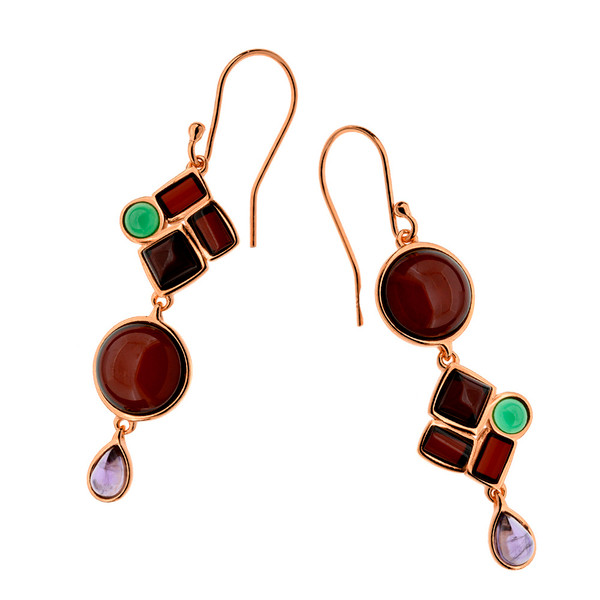 Cherry Color Baltic Amber & Amethyst & Agate Earrings in Rose Gold Plated Sterling Silver