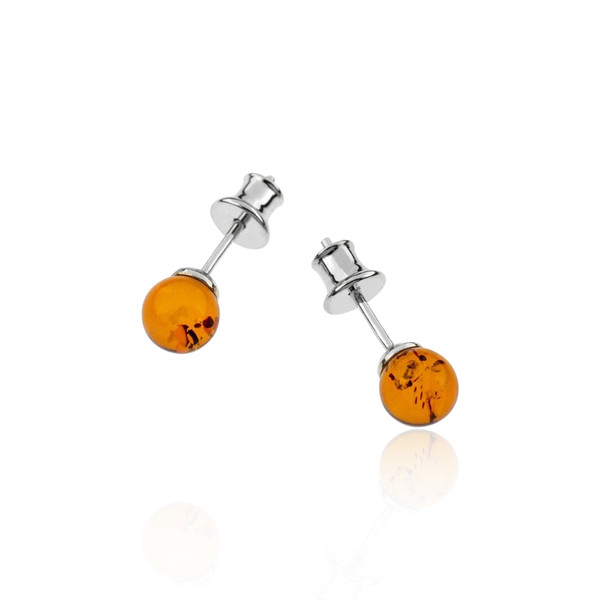 Small Ball Cognac Color Baltic Amber Stud Earring in Sterling Silver