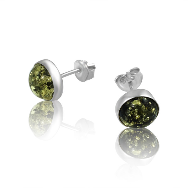 Green Color Baltic Amber Stud Earring in Sterling Silver