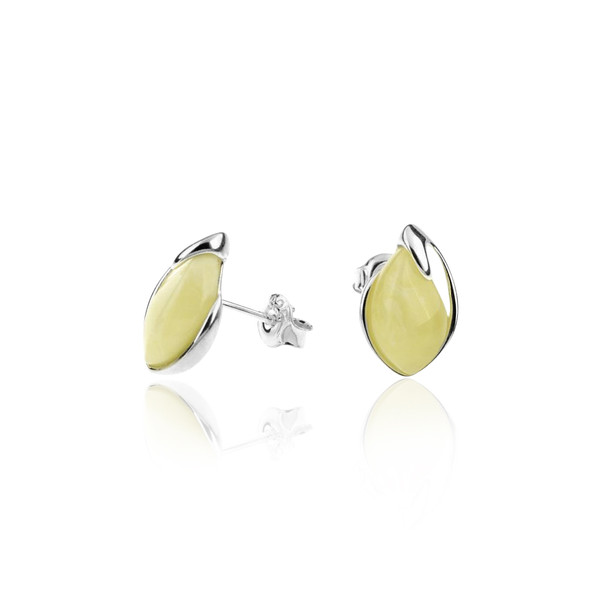 Butterscotch Color Baltic Amber Tear drop shape Post Earrings in Sterling Silver