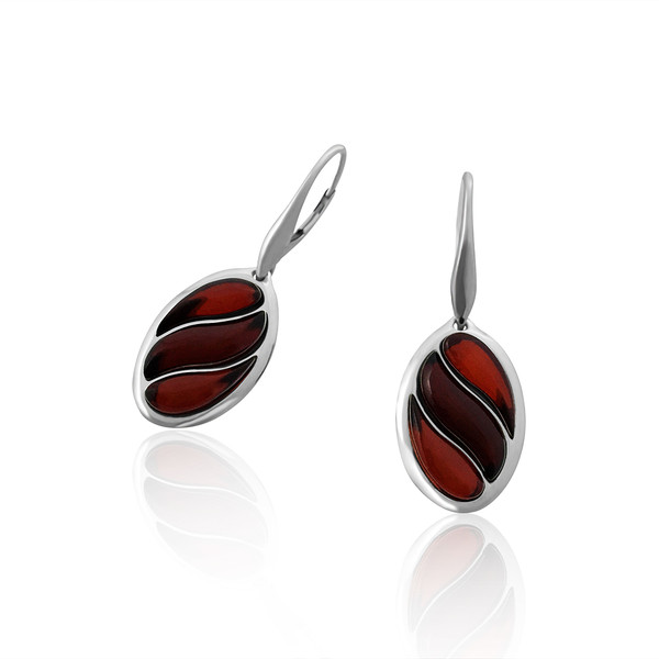 Oval shape Earrings with Cherry Color Baltic Amber in Sterling Silver