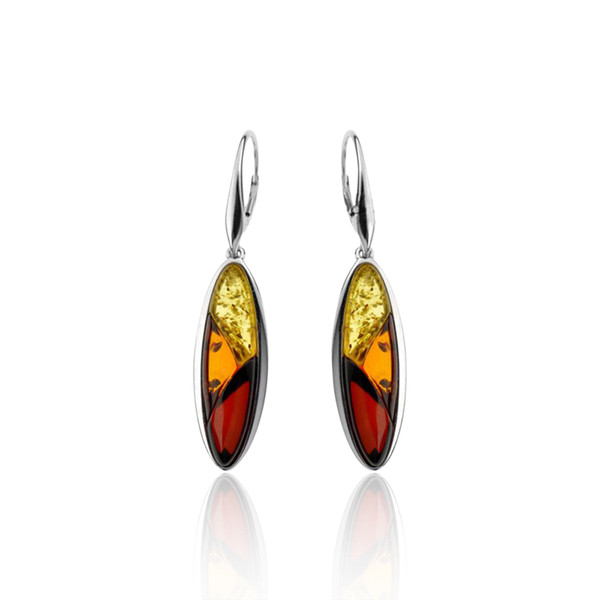 Dangle Lever-back Earrings with Multi Color Baltic Amber in Sterling Silver