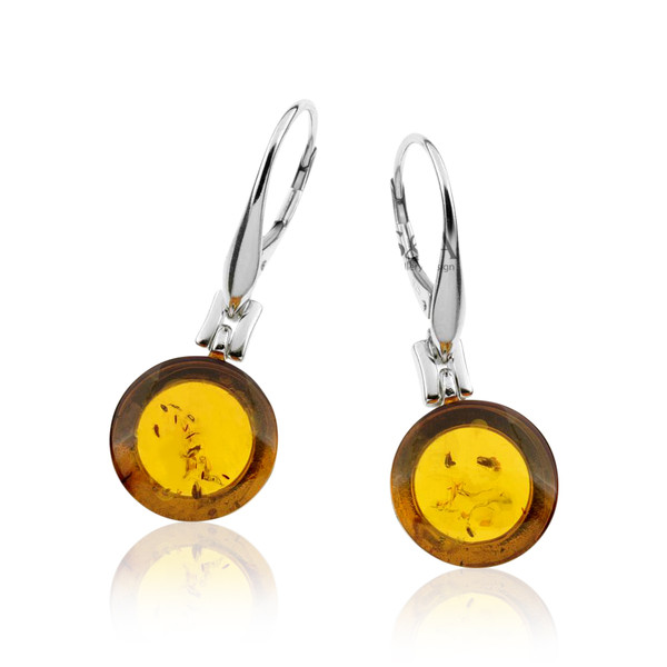 Classic Round shape Earrings with Cognac Color Baltic Amber in Sterling Silver