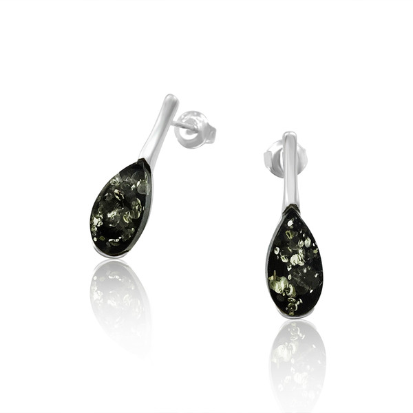 Small Tear drop shape Post Earrings with Green Color Baltic Amber in Sterling Silver