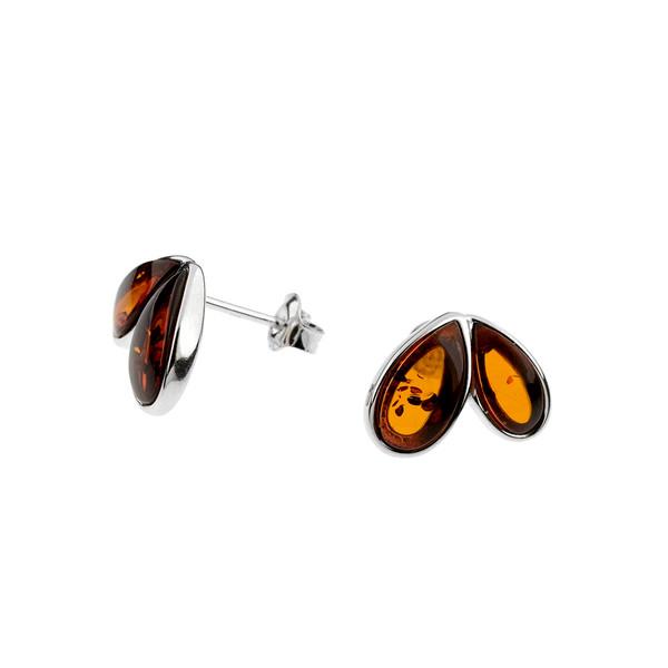 Cognac Color Baltic Amber Earrings in Sterling Silver