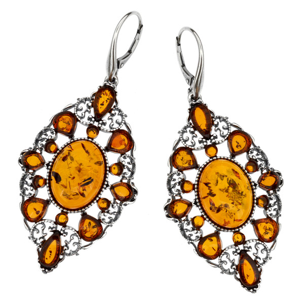 Chandeliers dangle style Earrings with Cognac Color Baltic Amber in Sterling Silver