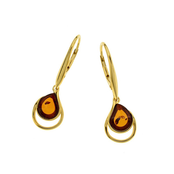 Cognac Color Baltic Amber Earrings in Goldplated Sterling Silver