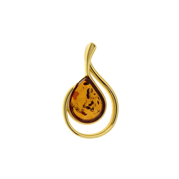 Cognac Color Baltic Amber Pendant in Yellow Goldplated Sterling Silver