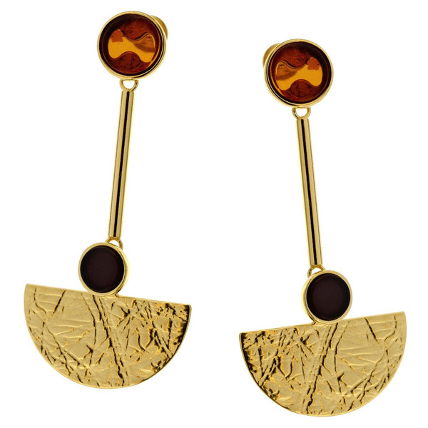 Art Deco Style Jewelry Collection Multi Color Baltic Amber Earrings in Yellow Goldplated Sterling Silver