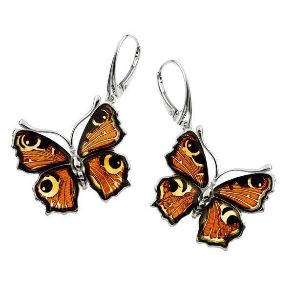 Butterfly Cognac Color Baltic Amber Earrings in Sterling Silver