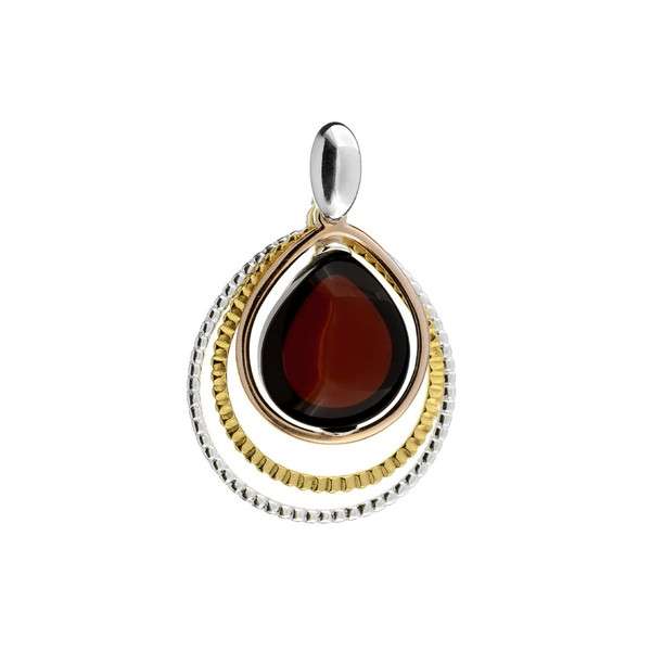Cherry Color Baltic Amber Pendant in mix Sterling Silver & Rose Gold-plated Sterling Silver