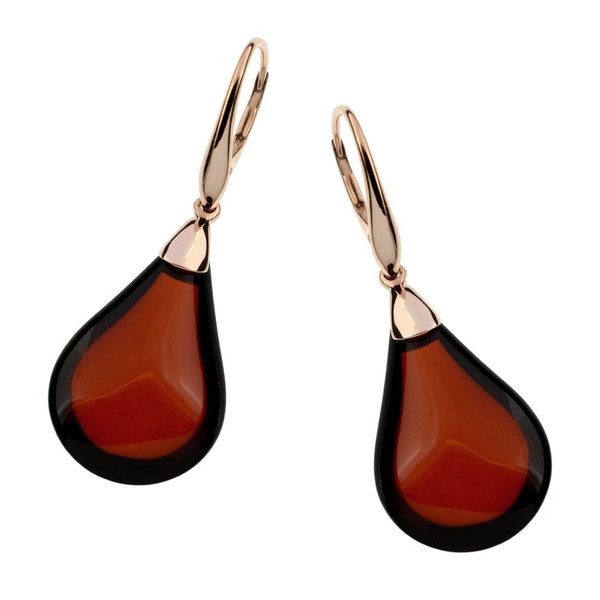 Unique Collection Classic Drop Earrings with Cherry Color Baltic Amber in Rose Goldplated Sterling Silver