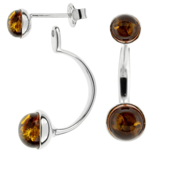 Two in One Earrings with Cognac Color Baltic Amber in Sterling Silver