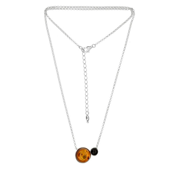 Multi Color Baltic Amber Necklace in Sterling Silver