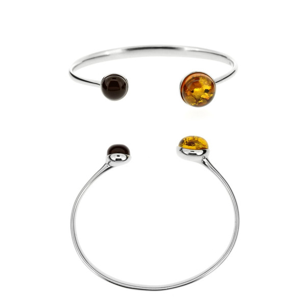 Multi Color Baltic Amber Bracelet in Sterling Silver